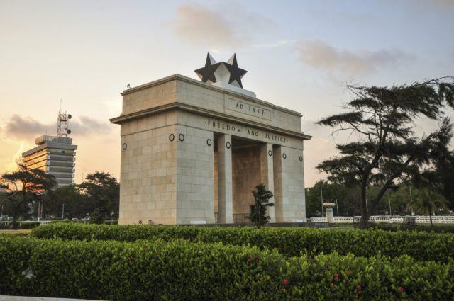"The Independence Square of Accra, Ghana, inscribed with the words ""Freedom and Justice, AD 1957"", commemorates the independence of Ghana, a first for Sub Saharan Africa. It contains monuments to Ghana's independence struggle, including the Independence Arch, Black Star Square, and the Liberation Day Monument."