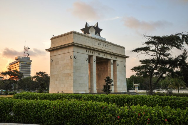 """The Independence Square of Accra, Ghana, inscribed with the words """"Freedom and Justice, AD 1957"""", commemorates the independence of Ghana, a first for Sub Saharan Africa. It contains monuments to Ghana's independence struggle, including the Independence Arch, Black Star Square, and the Liberation Day Monument."""