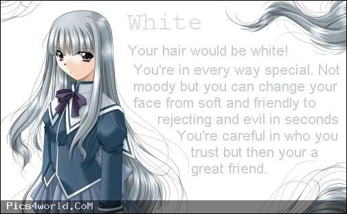 anime hair color meanings - white