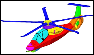 The surfaces of the helicopter are shown