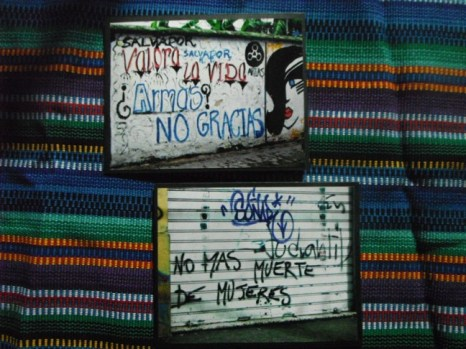 "Item#033 - 2 Blank Note Cards - Guatemalan Graffiti - ""Arms? No Thanks!"" and ""No more deaths of women."" -"