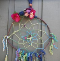 dream catcher - flowers with blues, purples and greens