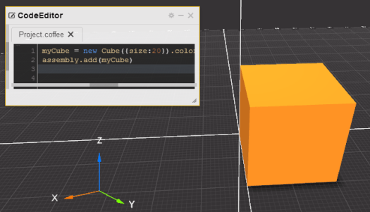 coffeescad screenshot showing code edit window and a rendered cube