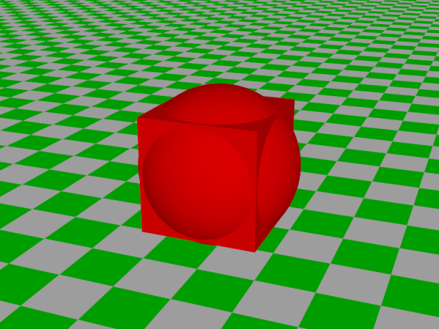 screenshot of povray of sphere unioned with a cube