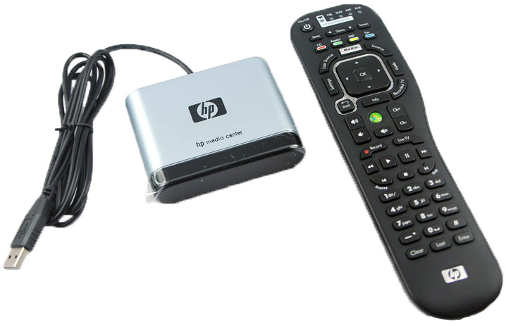 photo of the HP MediaSmart Remote and USB receiver