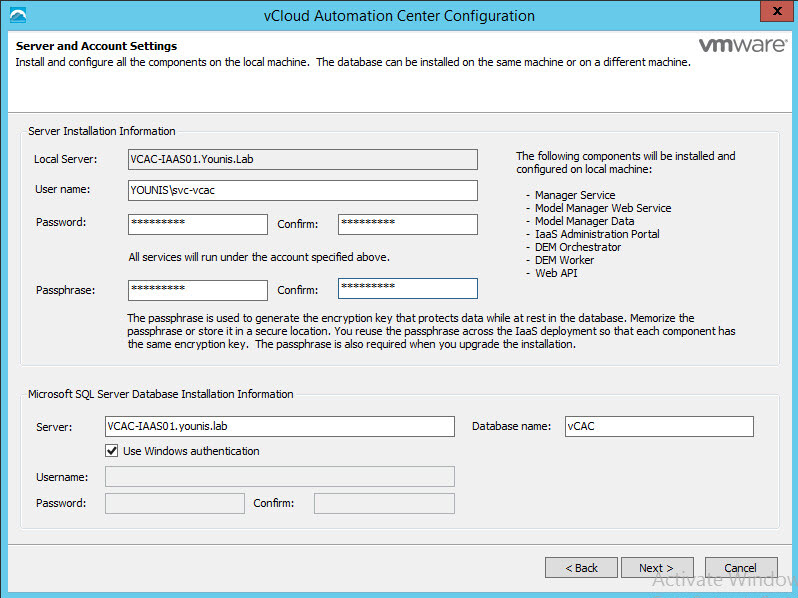 vRealize Automation 6 1 (formally vCAC) – IaaS Install