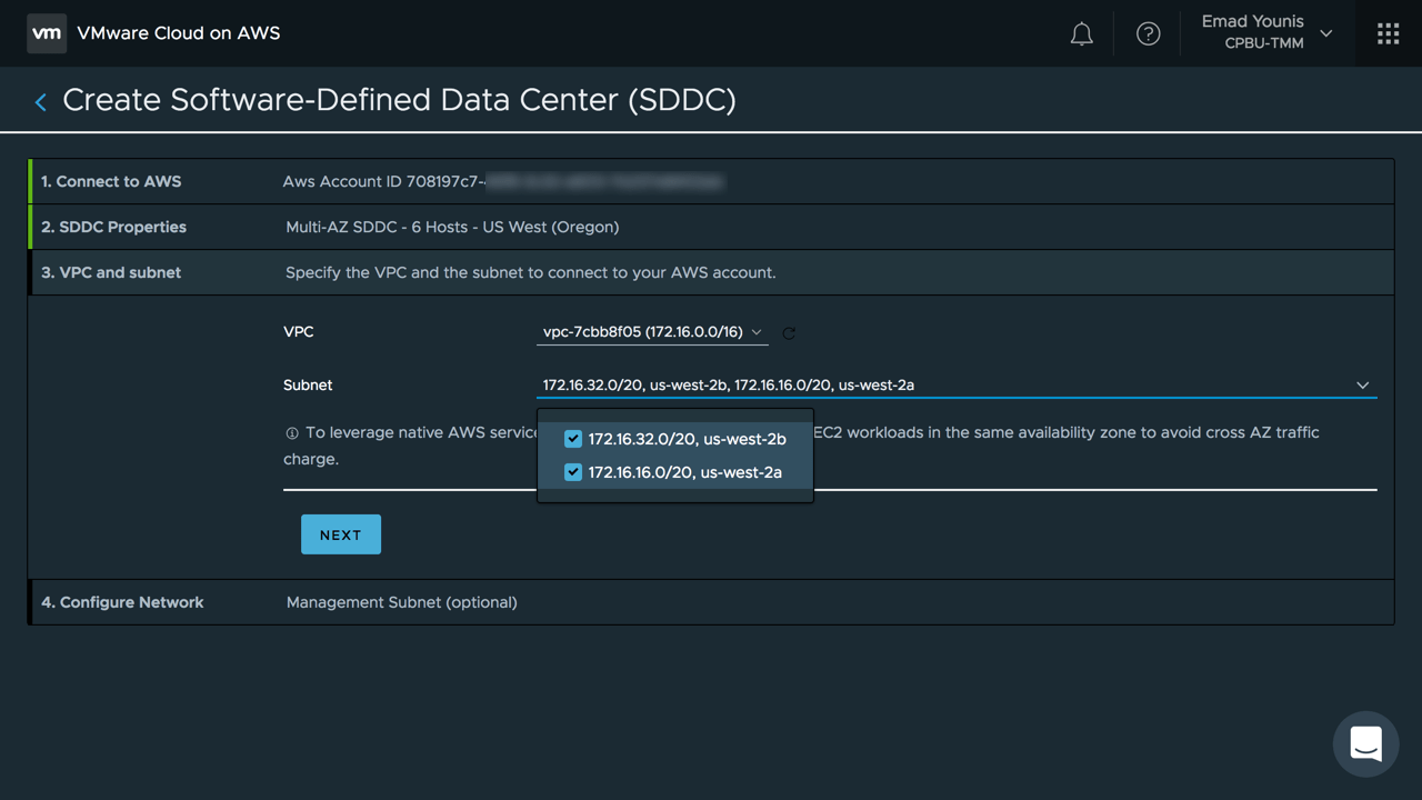 Stretched Clusters for VMware Cloud on AWS - VPC and Subnets