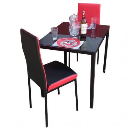 salle a manger 2 places en cuir noir rouge
