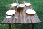E's Green Home Picks: Tables and Toppers A Fantastic Farm Table, Denim Insulation and Recycled Glass Goblets