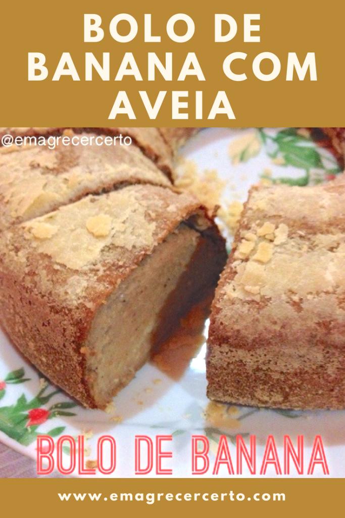 Bolo de banana com aveia (sem trigo) - Blog Emagrecer Certo #bolodebanana #semtrigo #bananaecanela #emagrecer #reeducacaoalimentar