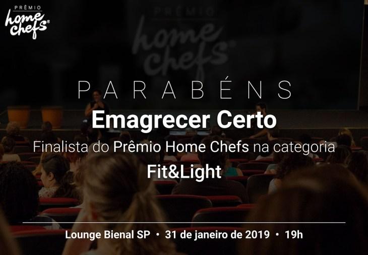 Prêmio HomeChefs - Finalista Emagrecer Certo - categoria Fit&Light