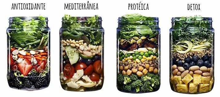 tipos de salada no pote