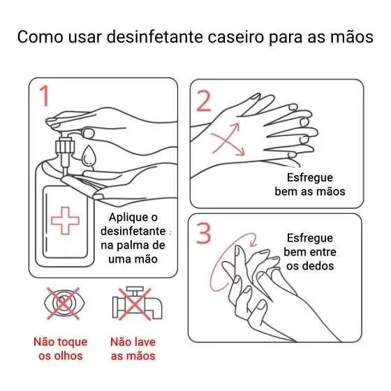 Como usar o desinfetante caseiro para as mãos