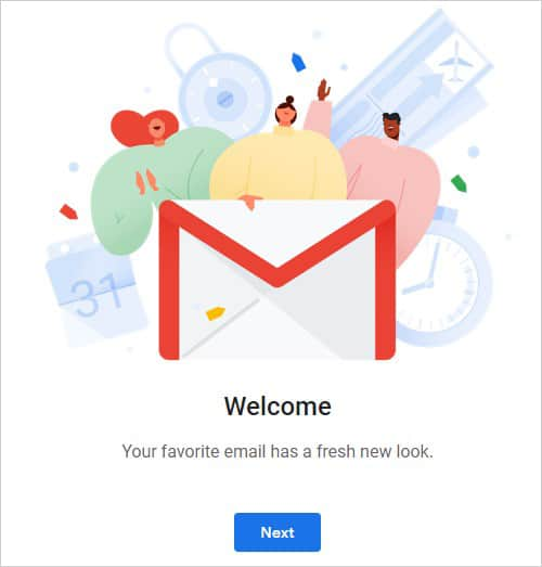 New Gmail Welcome Screen