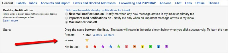 gmail tabs stars labels