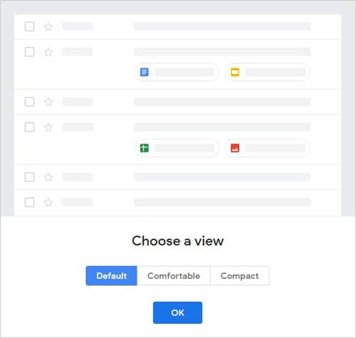 Gmail Display Density