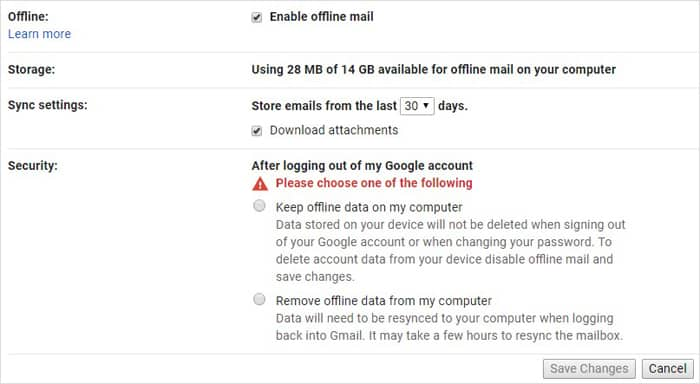 Turning on Gmail Offline