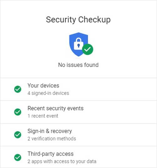 Gmail Security Checkup