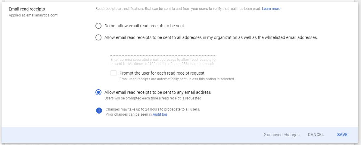 gmail read receipts options