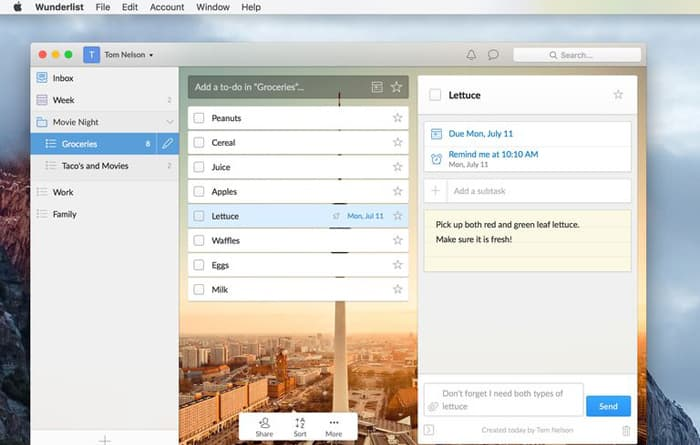 Productivity apps and tools - Wunderlist