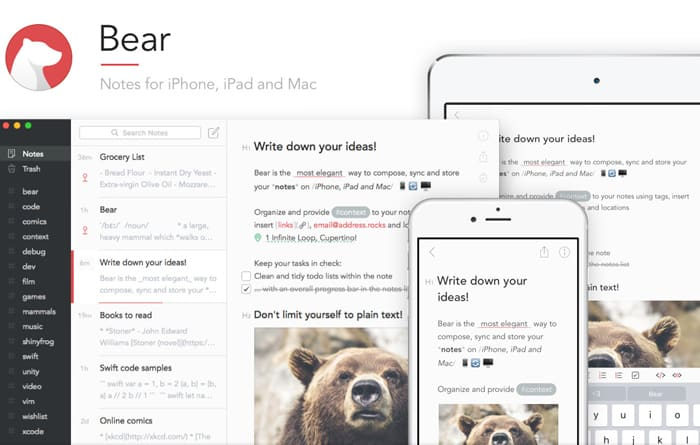 Productivity apps and tools - Bear Notes