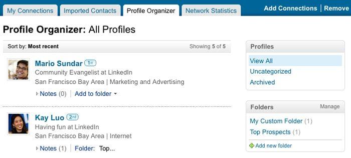 LinkedIn Profile Organizer