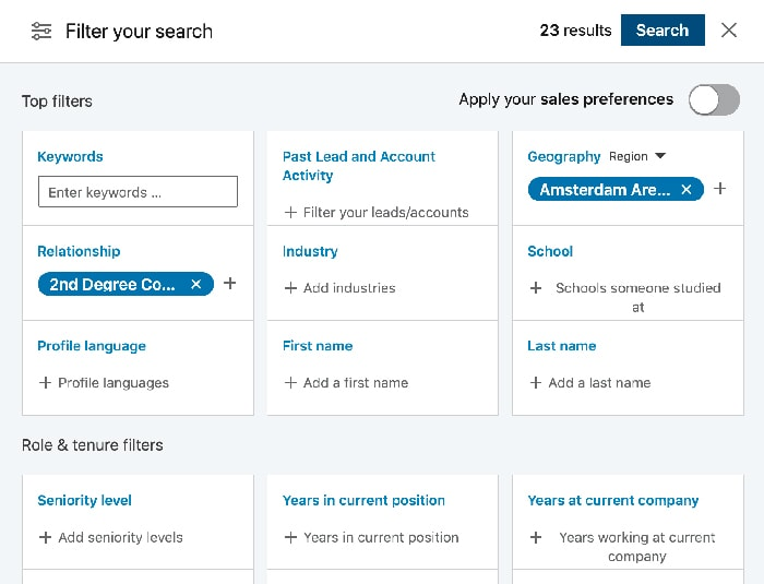 Sales Navigator Advanced Searches