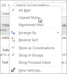 outlook unread only