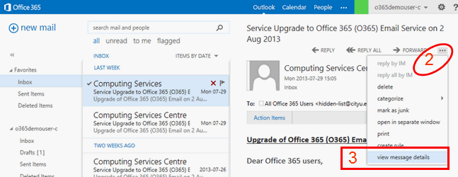Outlook email header analysis