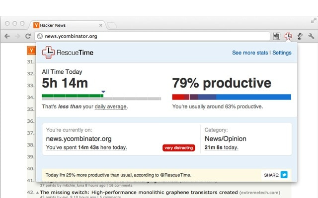 rescuetime chrome productivity extension