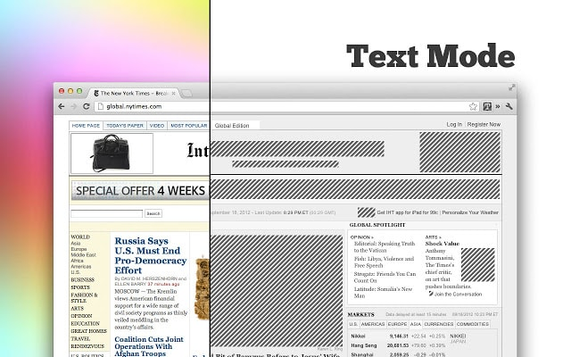 text mode chrome productivity extension