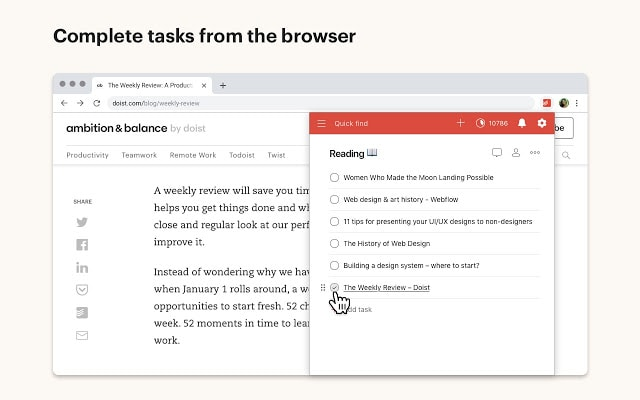 todoist chrome productivity extension