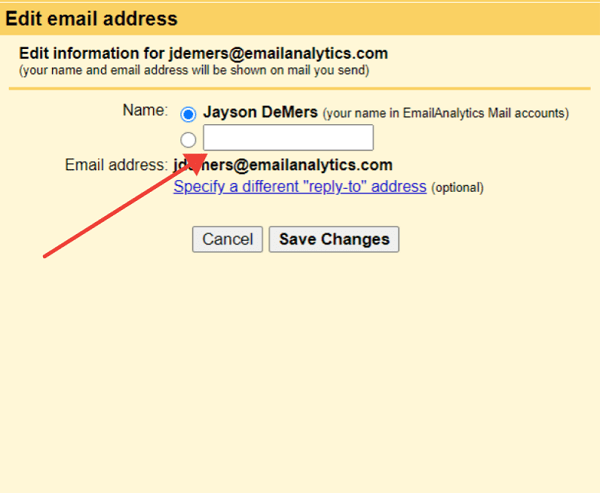 gmail change email name