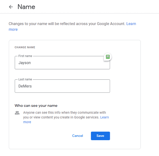 how to change google account name