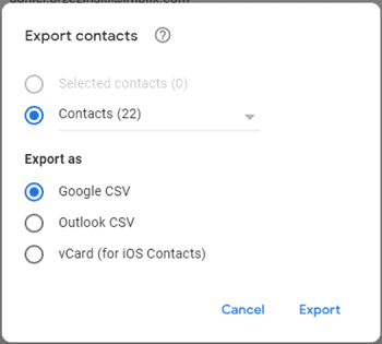 step 3 export gmail contacts