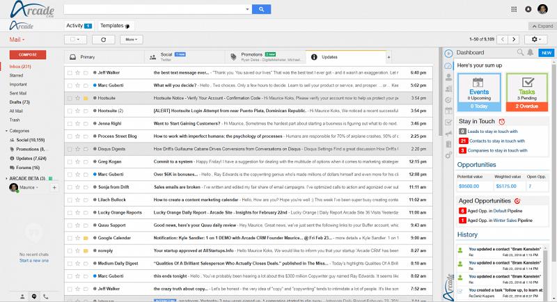 Arcade Dashboard Gmail