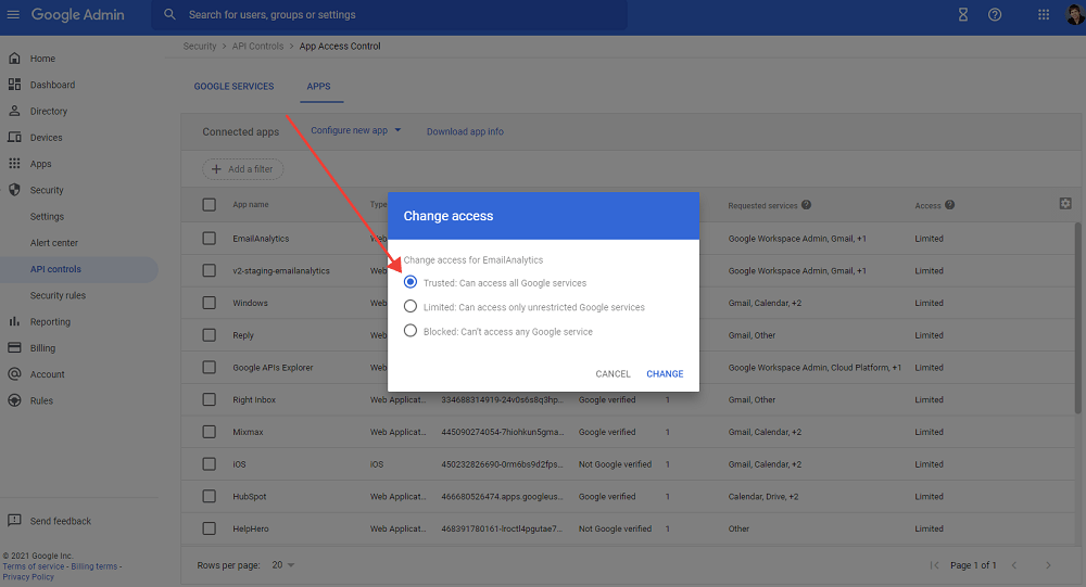 google workspace trusted app