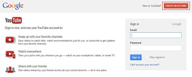 Sign-in to YouTube with Gmail account