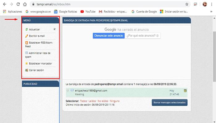Usando correo electronico desechable efectivo con Tempr.Mail