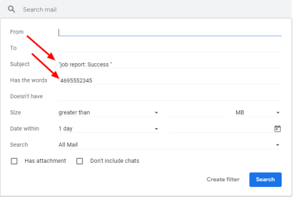Gmail Search criteria EmailToVoice.Net