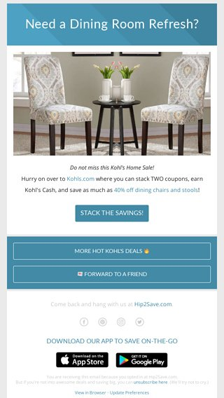 kohls dining chairs wood high chair canada kohl s double stack i need these hip2save email archive