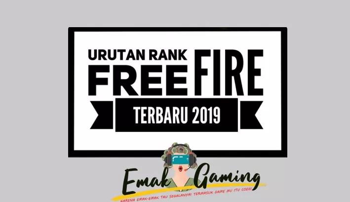 urutan rank free fire terbaru