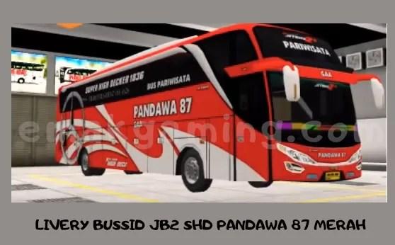LIVERY BUSSID JB2 SHD PANDAWA 87 MERAH