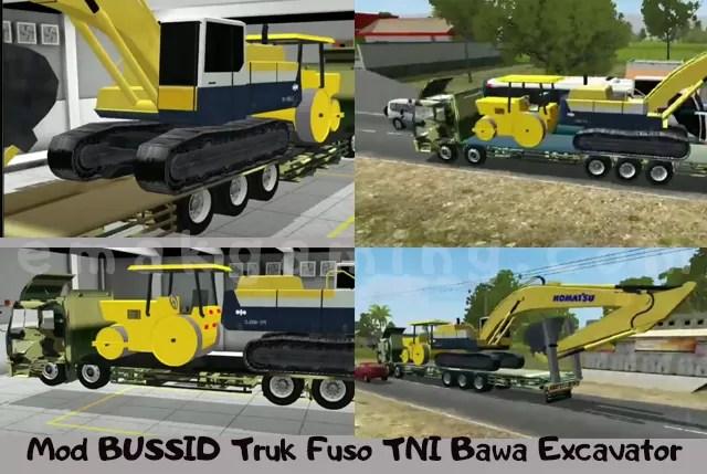 mod bussid truk fuso bawa excavator