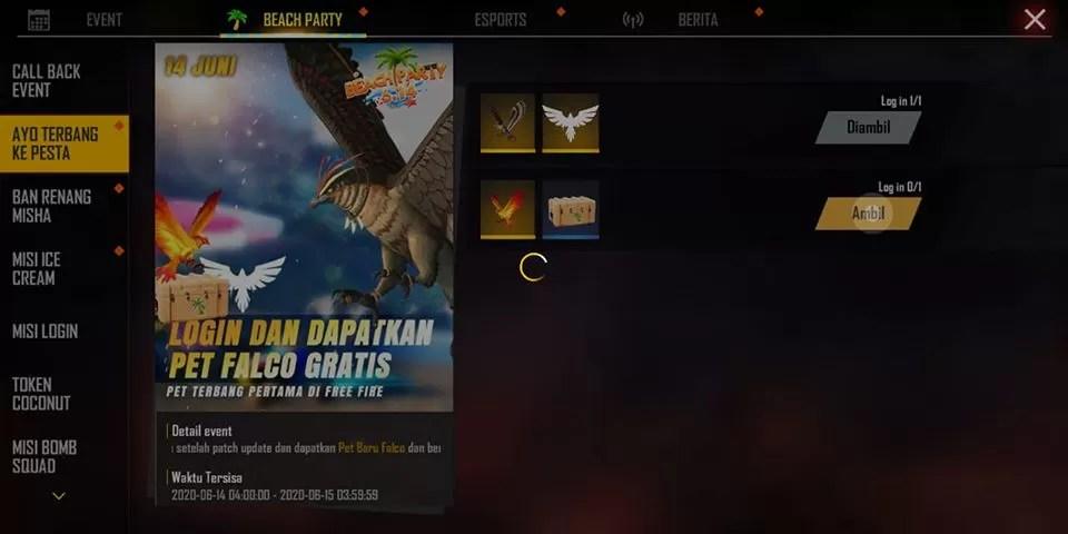 klaim pet falcon free fire