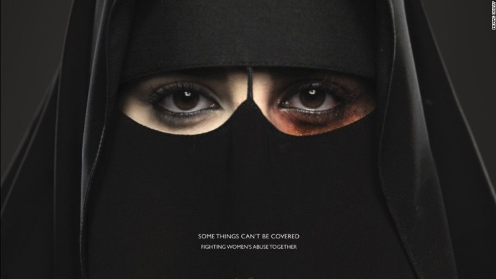 "The ad of the first anti-domestic violence campaign titled ""Some Things Can't be Covered"". (CNN)"