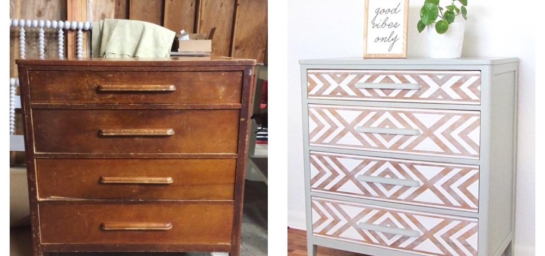 Em & Wit Furniture Design~Before and After: Tribal Dresser using Frog Tape~emandwit.com