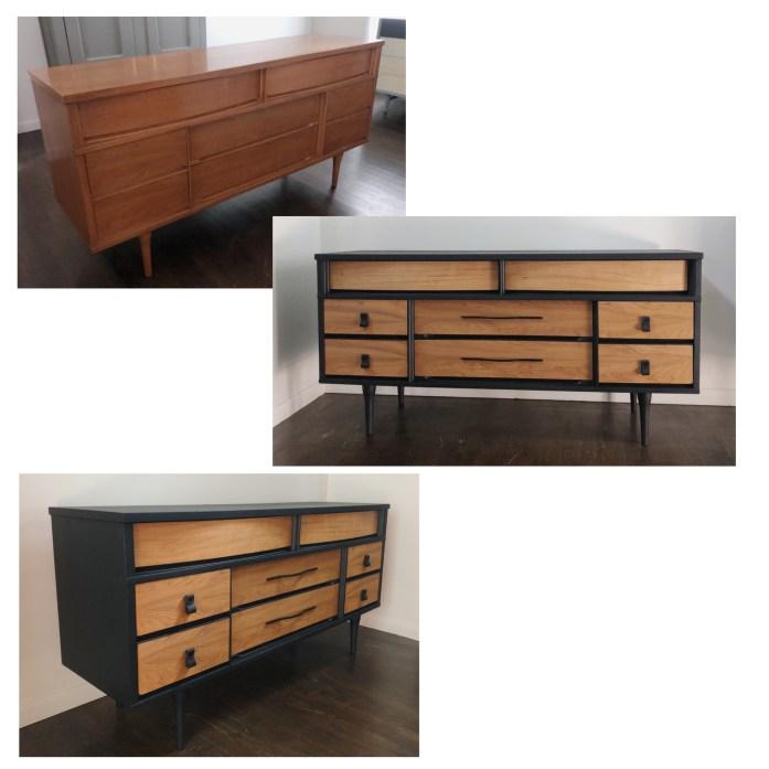 custom order Em & Wit Design mcm black wood dresser