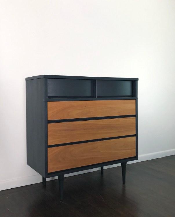 Em & Wit Design furniture refinishing repair mcm mid century dresser blue butternut white walnut