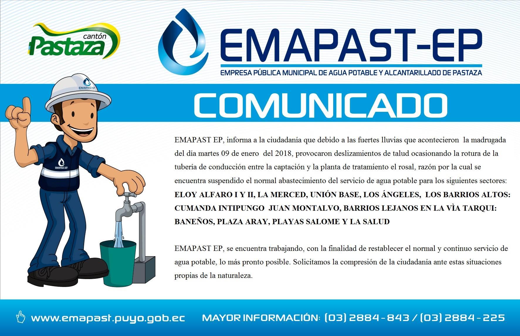 Comunicado Nº EMAPAST GCOM 001 2018 Puyo, 09 De Enero Del 2018 COMUNICADO